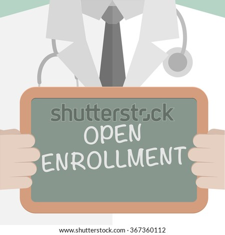 minimalistic illustration of a doctor holding a blackboard with Open Enrollment text, eps10 vector - stock vector