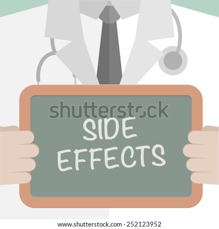 minimalistic illustration of a doctor holding a blackboard with Side Effects text, eps10 vector - stock vector