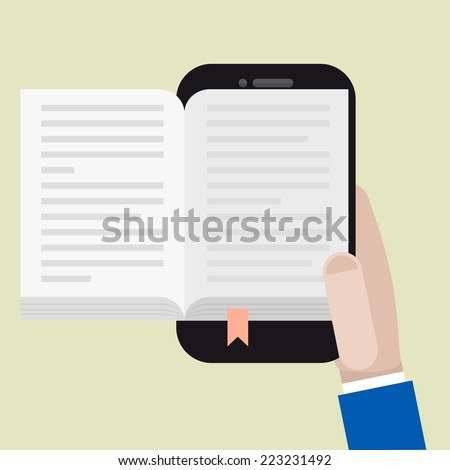 minimalistic illustration of a hand holding a mobile phone with an open book, ebook concept, eps10 vector - stock vector