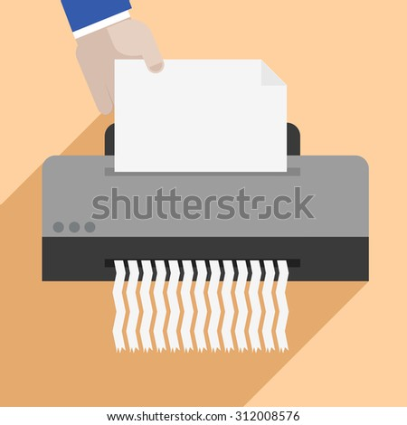 minimalistic illustration of a hand putting a letter into a paper shredder, eps10 vector - stock vector