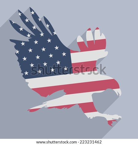 minimalistic illustration of a hunting eagle colored with the american flag, eps10 vector - stock vector