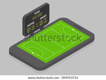 minimalistic illustration of a mobile phone in isometric view with Field Hockey field, online watching concept, eps10 vector - stock vector