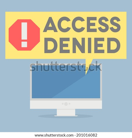 minimalistic illustration of a monitor with an access denied speech bubble, eps10 vector - stock vector