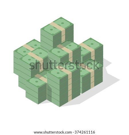 minimalistic illustration of a pile of cash, eps10 vector - stock vector