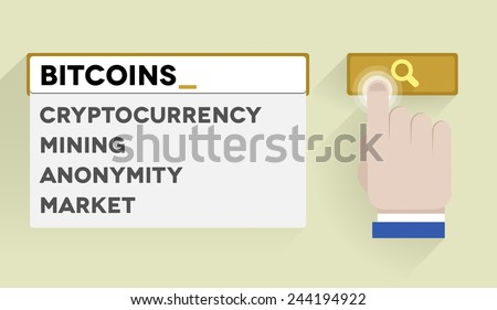 minimalistic illustration of a search bar with bitcoins keyword and associations, eps10 vector