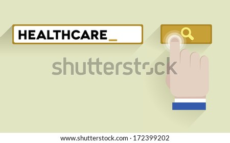 minimalistic illustration of a search bar with healthcare keyword and hand over the button, eps10 vector