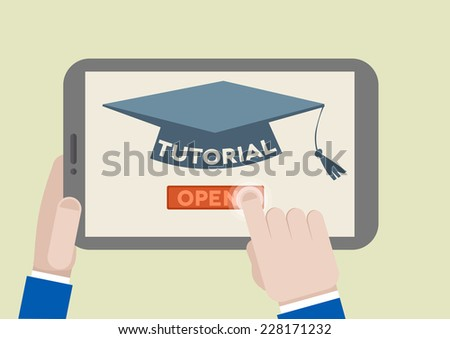 minimalistic illustration of a tablet computer with tutorial scholar hat and hand pushing the join button, eps10 vector - stock vector