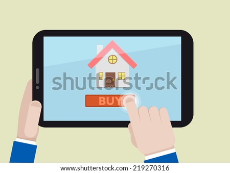 minimalistic illustration of buying a home on a mobile device, eps10 vector
