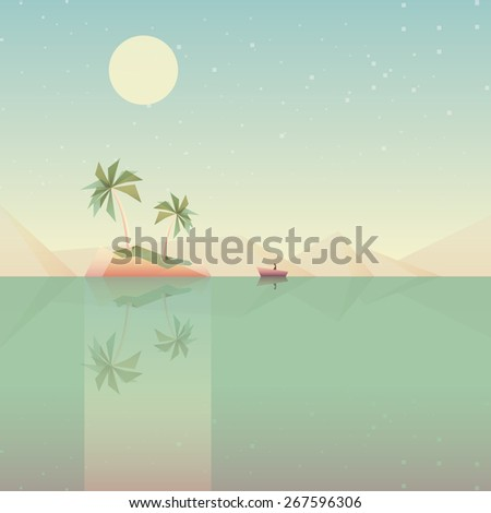 minimalistic low poly style summer wallpaper vector illustration. Small island in the middle of the ocean reflecting in the water. Tiny boat approaching the land on the moonlight. Flat design - stock vector