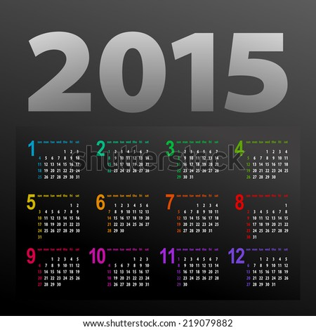 minimalistic multicolor 2015 calendar design - week starts with sunday  - stock vector