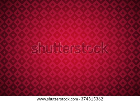 Minimalistic red poker background with texture composed from card symbols - stock vector