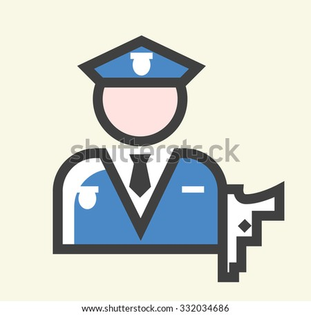 Minimalistic Solid Line Colored Policeman Icon. Isolated Vector Elements. - stock vector