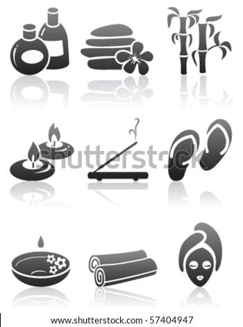 Minimalistic SPA icons set - stock vector