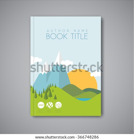 Minimalistic vector Book front cover design template with flat landscape