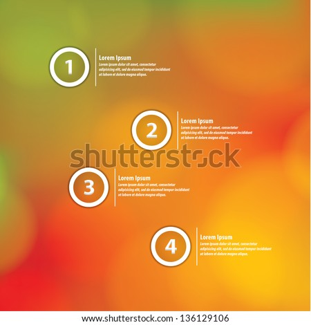 Minimalistic vector template with soft natural blurred background. Four choices, variants, levels. For your presentation, website or poster. Editable, sizable friendly. - stock vector