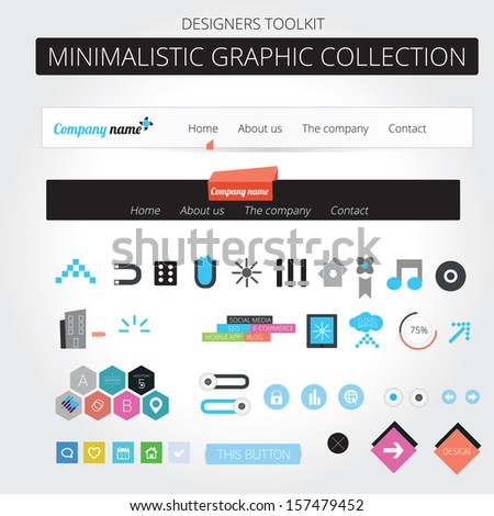 Minimalistic web graphic collection - stock vector