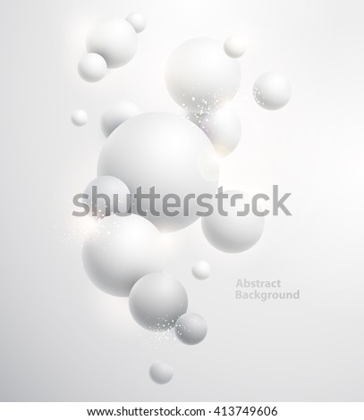 Minimalistic white background with  3D balls. - stock vector
