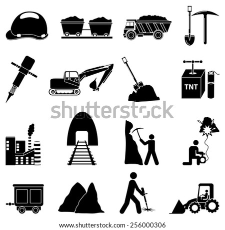mining construction icons set - stock vector