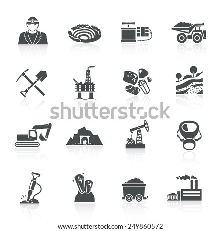 Mining icons black set with hammer helmet lamp earth mover isolated vector illustration - stock vector