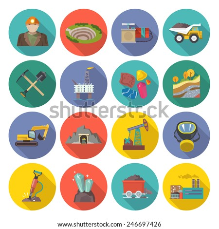 Mining icons flat set with miner hammer truck bulldozer isolated vector illustration - stock vector