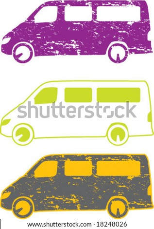 Minivan Grunge car artwork - stock vector