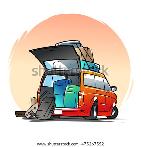 Minivan with suitcases and bags. Cartoon illustration