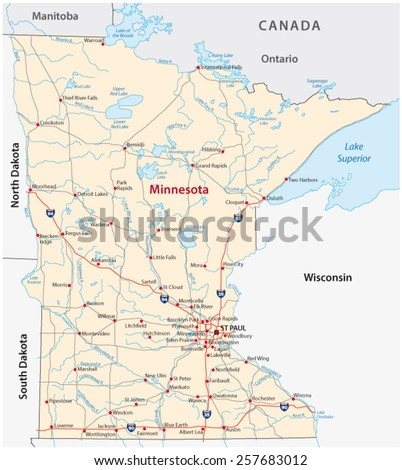 Minnesota Map Stock Images RoyaltyFree Images Vectors - Map of wisconsin and minnesota