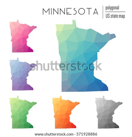Minnesota state map in geometric polygonal style. Set of Minnesota state maps filled with abstract mosaic, modern design background. Multicolored state map in low poly style - stock vector