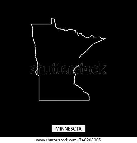 Minnesota State Of USA Map Vector Outline Illustration In Black Background