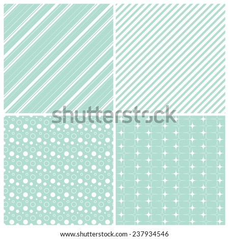mint geometric seamless patterns: stars, stripes, polka dots, circles, squares, grid, vector illustration - stock vector