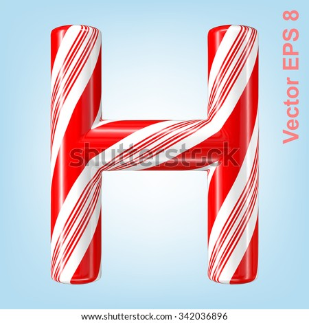 Mint hard candy cane vector alphabet collection striped in Christmas colours. Letter H. Eps 8 using mesh. - stock vector