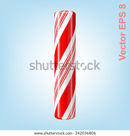 Mint hard candy cane vector alphabet collection striped in Christmas colours. Letter I. Eps 8 using mesh. - stock vector