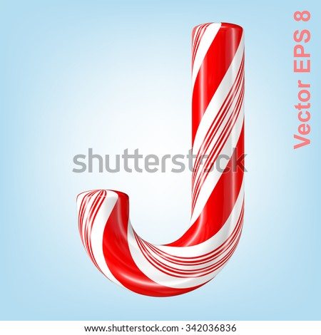 Mint hard candy cane vector alphabet collection striped in Christmas colours. Letter J. Eps 8 using mesh. - stock vector