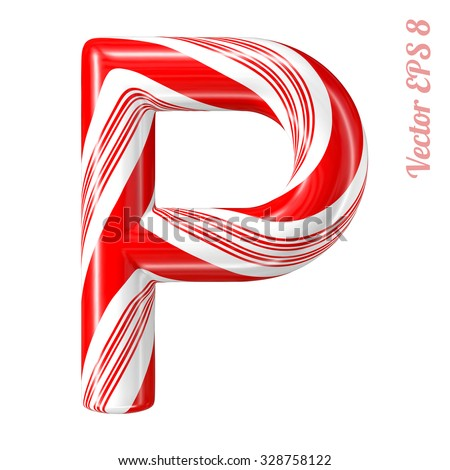Mint hard candy cane vector alphabet collection striped in Christmas colours. Letter P. Eps 8 using mesh. - stock vector