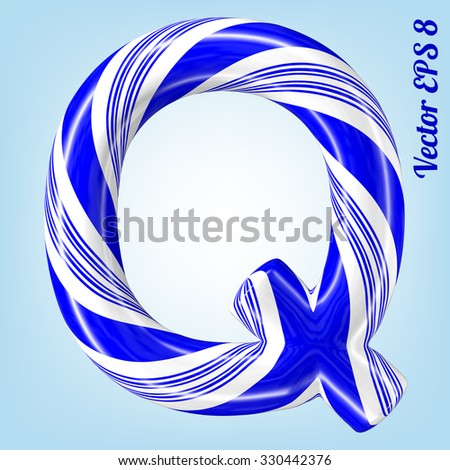 Mint hard candy cane vector alphabet collection striped in Christmas colours. Letter Q. Eps 8 using mesh. - stock vector