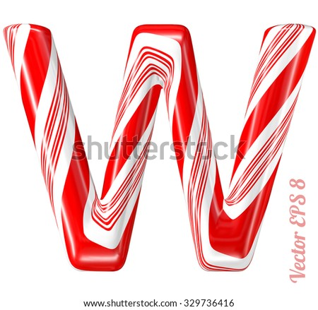 Mint hard candy cane vector alphabet collection striped in Christmas colours. Letter W. Eps 8 using mesh. - stock vector