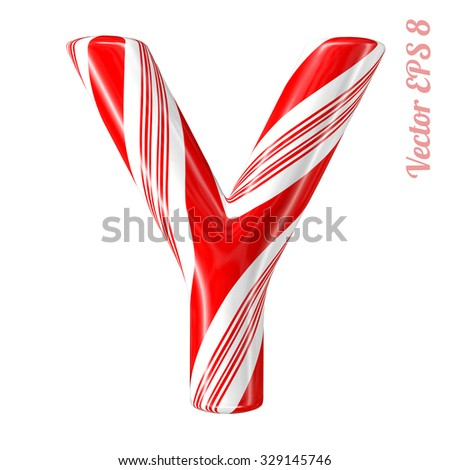 Mint hard candy cane vector alphabet collection striped in Christmas colours. Letter Y. Eps 8 using mesh. - stock vector