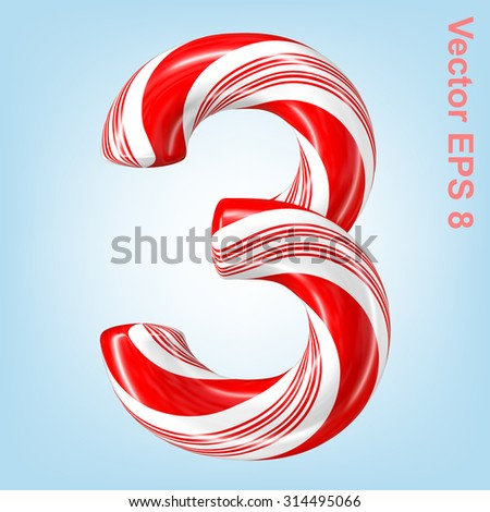 Mint hard candy cane vector number collection striped in Christmas colours. Figure 3. Eps 8 using mesh. - stock vector