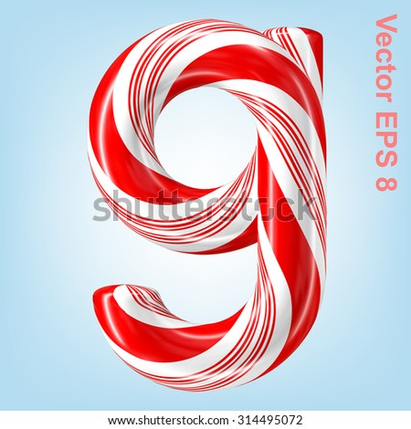 Mint hard candy cane vector number collection striped in Christmas colours. Figure 9. Eps 8 using mesh. - stock vector