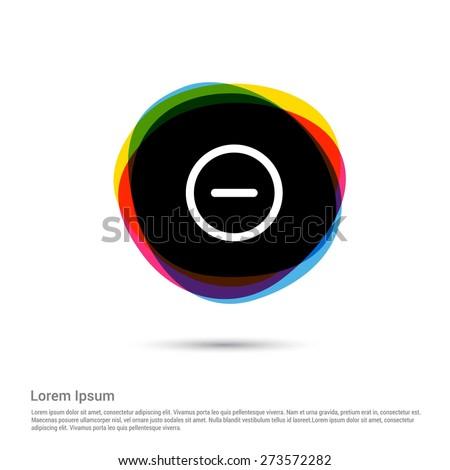 Minus Icon Delete Icon, White pictogram icon creative circle Multicolor background. Vector illustration. Flat icon design style - stock vector