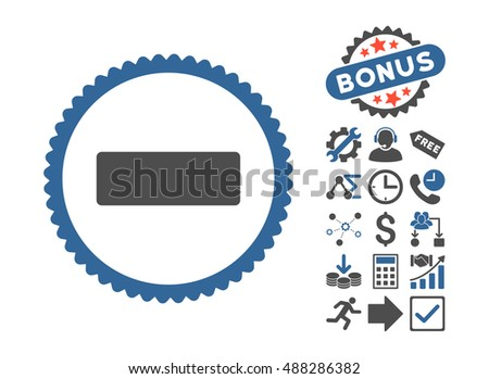 Minus pictograph with bonus pictures. Vector illustration style is flat iconic bicolor symbols, cobalt and gray colors, white background.