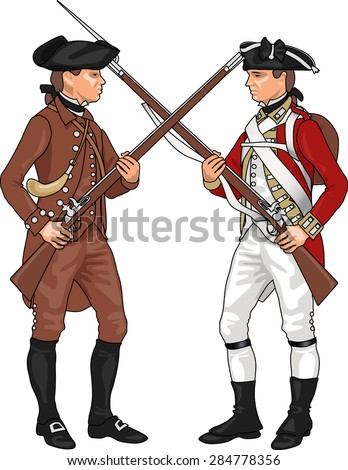 Minuteman and British Soldier from American Revolutionary War Clashing Each Others Weapons, Illustration Isolated on White Background, EPS 10 Vector - stock vector
