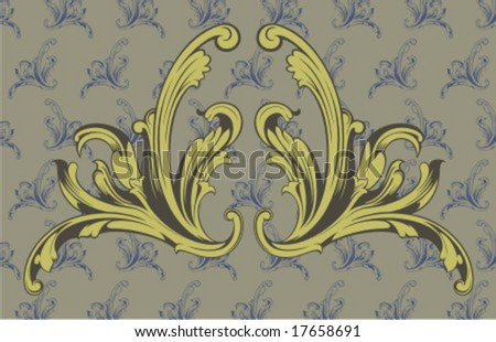 mirror fleuron - stock vector