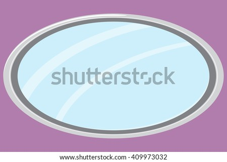 Mirror isolated oval form. Mirror furniture, oval mirror frame and fashion mirror. Vector flat design illustration - stock vector