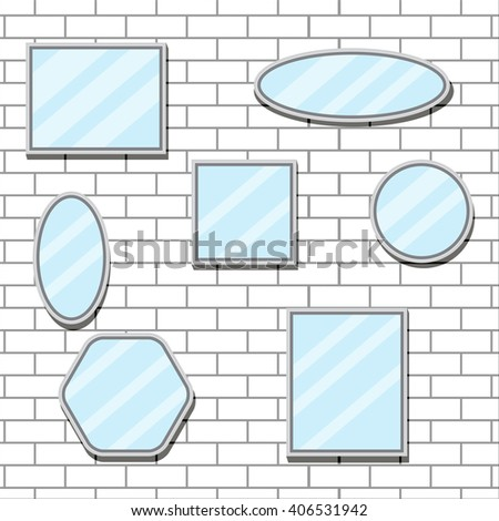 Mirror set design form on brick wall. Mirror reflection and mirror frame, bathroom mirror and wall mirror, oval furniture design fashion. Vector flat design illustration - stock vector