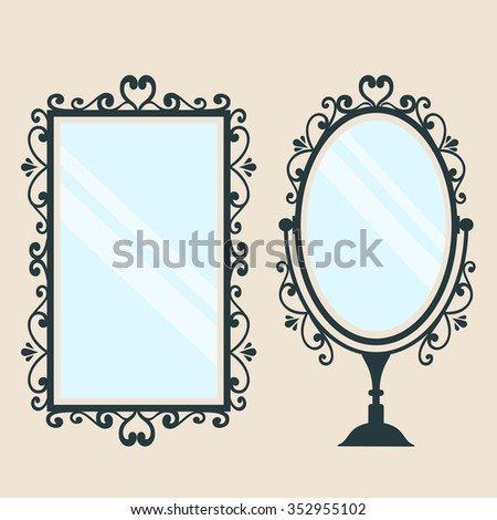 mirror square and  vintage mirror on a background - stock vector
