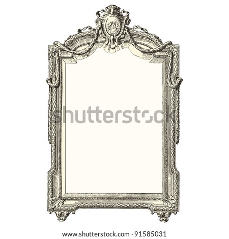 """Mirror 18th century style - Vintage engraved illustration - """"Le Mobilier"""" Ed.Edouard Rouveyre  in 1915 France - stock vector"""
