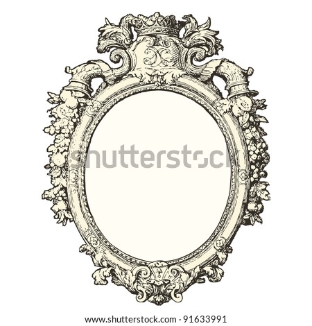 "Mirror 17th century style - Vintage engraved illustration - ""Le Mobilier"" Ed.Edouard Rouveyre  in 1915 France - stock vector"