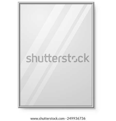 Mirror with chrome frame on the wall vector template. - stock vector