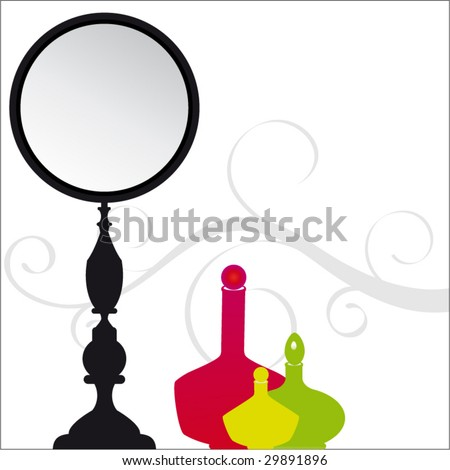 mirror with perfume bottles and vine behind - stock vector